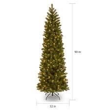 Feel Real  Down Swept Douglas Fir Pencil Slim Hinged 7 5 foot Tree with 350 Clear lights   7 5  Retail 1
