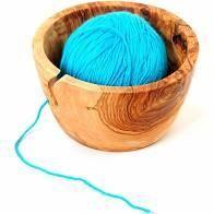Wooden 7  Yarn Bowl  Handmade Olive Wood 7 inch Yarn Knitting Bowl