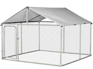 PawHut Galvanized Steel 7 5 foot Outdoor Dog Kennel with Oxford Cloth Roof and lock   Retail 251 000
