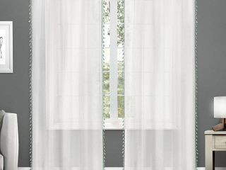 54X96   Sea Foam  ATI Home Tassels Applique Sheer Rod Pocket Top Curtain Panel Pair