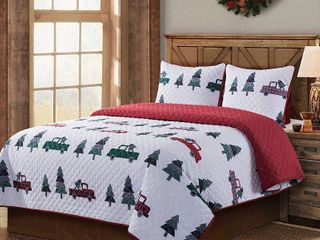 COUNTRY lIVING Vintage Truck 3 Piece King Quilt Set  Multi