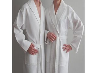 M  Authentic Hotel and Spa Turkish Cotton Unisex Waffle Weave Bath Robe