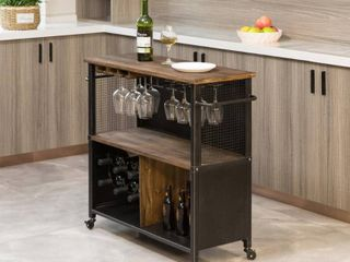 Brown  FirsTime   Co  Chandler Farmhouse Kitchen Cart  Wood  31 5 x 12 x 31 5 in  American Designed   31 5 x 12 x 31 5 in  Retail 209 99