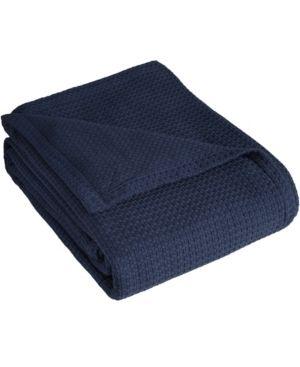 Elite Home Grand Hotel Cotton Solid Bed Blanket   Navy  Full Queen