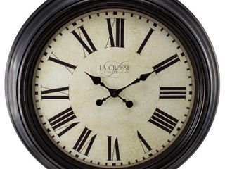la Crosse Clock 404 2658 Brown 23 inch Round Antique Dial Analog Wall Clock with Roman Numerals  23  Brown Analog Clock