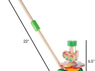 Null Wooden Push and Pull Toy IJ Old Fashioned Walk Along Butterflies with Handle for Indoor and Outdoor Play by Hey  Play