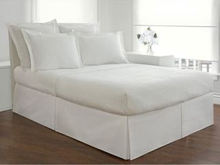 Cal King White Basic Microfiber Tailored Bedskirt with 14 inch Drop