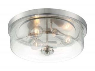 Brushed Nickel  Sommerset 3 light Flush Mount with Clear Glass Brushed Nickel Finish  Retail 171 99