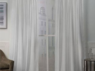 27X108   Winter White  ATI Home Velvet Heavyweight Pinch Pleat Top Curtain Panel Pair