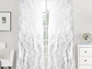 Silver Sweet Home Collection Sheer Voile Waterfall Ruffled Tier 96 Inch Single Curtain Panel 96  long x 50  wide