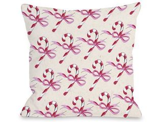 18 x 18 Candy Cane Bows Beige Pink Throw 16 or 18 Inch Throw Pillow by Timree
