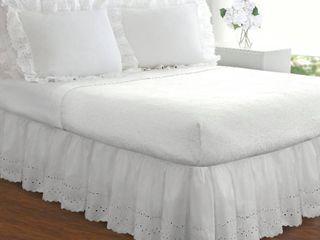 Ruffled lauren Eyelet 18 inch Bedskirt White Queen