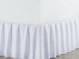 Queen White Martex Solid Ruffle Bed Skirt