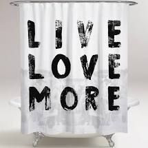 71 x 74  Oliver Gal  live and love  Typography and Quotes Decorative Shower Curtain Inspirational Quotes and Sayings   Black  White  Retail 78 48