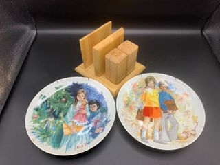 lot of 2 limoges Hand Painted Decorative Plates and Wood Napkin and Shaker Holder