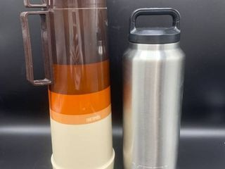 Vintage Thermos Vacuum Bottle and Metal Yeti Bottle