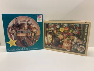 lot of 2 Cat Puzzles   Includes Cobble Hill