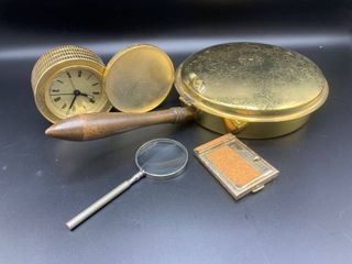 lot of Gold Travel Alarm Clock  Bed Warmer  Small Magnifying Glass and Address Book
