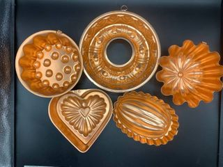 lot of 5 Decorative Copper Colored Molds