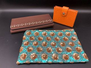 lot of 2 Wallets and 1 Sequined Pouch with Zipper