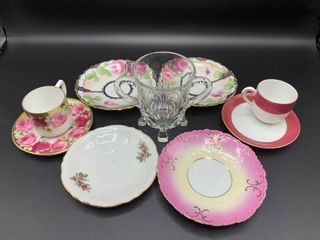 Mixed lot of 9 lovely Pieces   Most Vintage and Handpainted   Includes Demitasse Cups with Saucers and a Variety of Saucers  All Gilded  Plus a 4 Footed  2 Handled Glass Dish