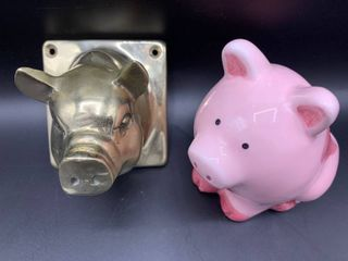lot of Brass Wall Mount Pig Head and Pink Ceramic Pig Planter