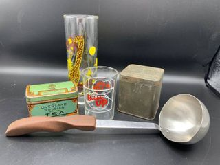 lot of 5 Unique Vintage Items   Includes Curious George and Bubble Up Glasses  Cutco Stainless ladle with Wood Handle  Arbuckle Brothers and lipton Tea Tins