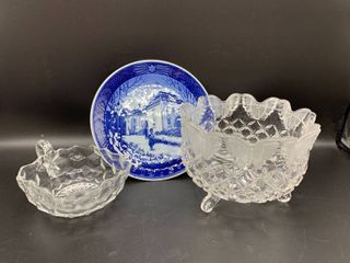 lot of 3   Includes 1975 Royal Copenhagen Christmas Plate  Crystal Butterfly Footed Candy Dish