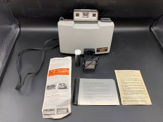 Vintage Polaroid 420 Camera and Flash with Case  Paperwork and Accessories