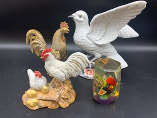 lot of 4   Includes Metal Rooster and Homco Rooster and Chickens