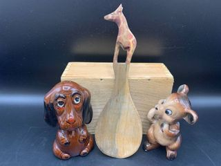 lot of 3 Figurines   Bassett Hound Shaker  Hand Carved Giraffe Spatula and Kreiss Mouse