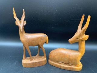 2 Hand Carved Wood Antelope Figurines
