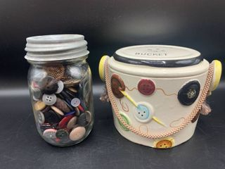 Vintage Buttons in Ball Jar with Atlas Zinc lid and Ceramic Button Bucket