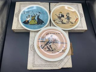 lot of 3 1984 Newell Pottery Rockwell on Tour Collection Plates in Original Boxes   All Appear Unused