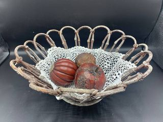 Decorative Basket with Vintage Doily and 3 Pieces of Wood Decor