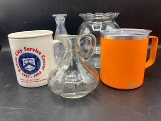 lot of 5   Includes KC IRS Center Anniversary Mug  with lid  and 3 Glass Crystal Pieces