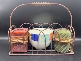 Home Decor lot of Metal Basket with Handpainted Mug Made in Italy  and 2 New Pillar Candles
