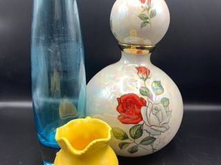 lot of Tall Hand Blown Blue Vase  Yellow Creamer and large Pearlized Urn with Handpainted Roses