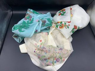 lot of Vintage linens   2 Square Tablecloths with Hand Embroidered Edging and Net Hand Embroidered Table Runner or Dresser Scarf