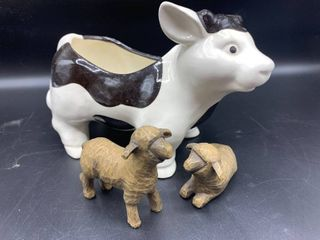 lot of Ceramic Cow Planter and 2   2002 Willow Tree Nativity Sheep