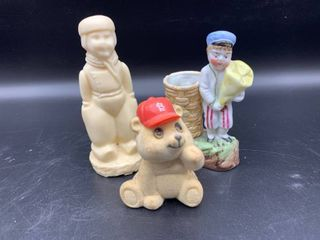 lot of 3 Figurines   Includes Russ Bear
