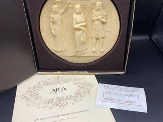 1979 Aida Plate in Original Box   la Scala Grand Opera Collection in Ivory Alabaster  Handmade in Italy