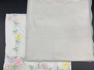 lot of Square Embroidered luncheon Cloth and 60x104 Heavy Vinyl Tablecloth