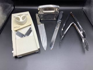 lot of Kitchen Utensils Including Slicer with Multiple Blades  Meat Tenderizer  Tongs and Knives