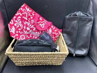 lot of Woven Basket  Thirty One Bag  Conair Blow Dryer with Retractable Cord  2 Travel Kits