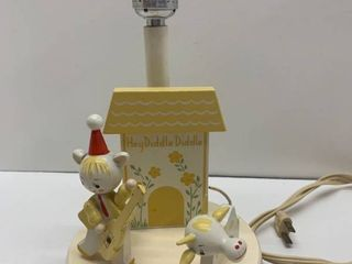 Vintage Hey Diddle Diddle Wood lamp