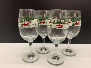 Set of 4 Holiday Wine Glasses