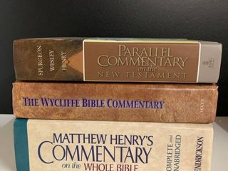 lot of 3 Bible Commentaries   Includes Spurgeon  Wesley  Henry