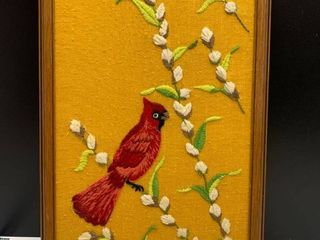 Vintage Embroidered Cardinal Wall Art
