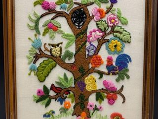 Vintage Flowering Tree Embroidered Framed Wall Hanging